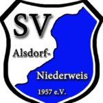 Das Logo als Wappen in blau weiß des SV Alsdorf Niederweis.